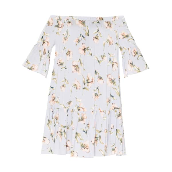 PAISIE Floral Print Bardot Dress with Gathered Hem & Flared Cuffs in Light Blue