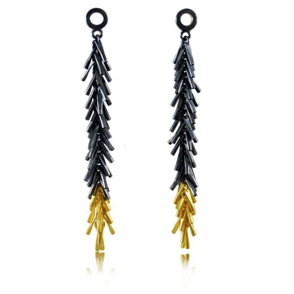 KAROLINA BIK JEWELLERY Tickle Ii Long Earrings Black & Gold