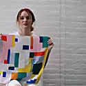 Silk Scarf Bandana With Colorful Squares image