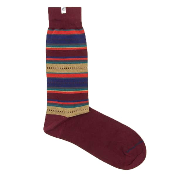40 COLORI Burgundy Striped Ethnic Organic Cotton Socks in Red