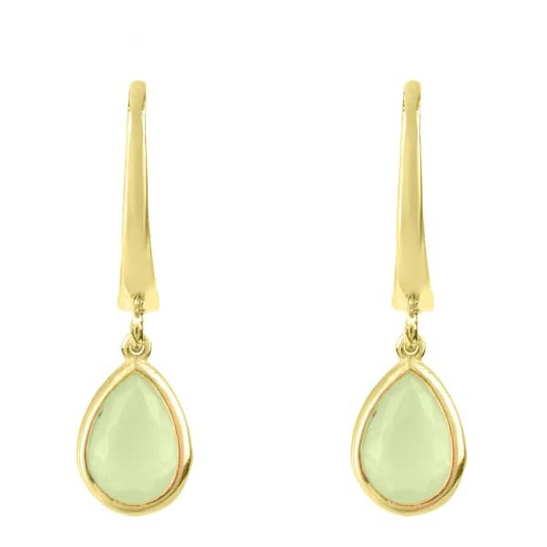 Pisa Mini Teardrop Earring Gold Aqua Chalcedony