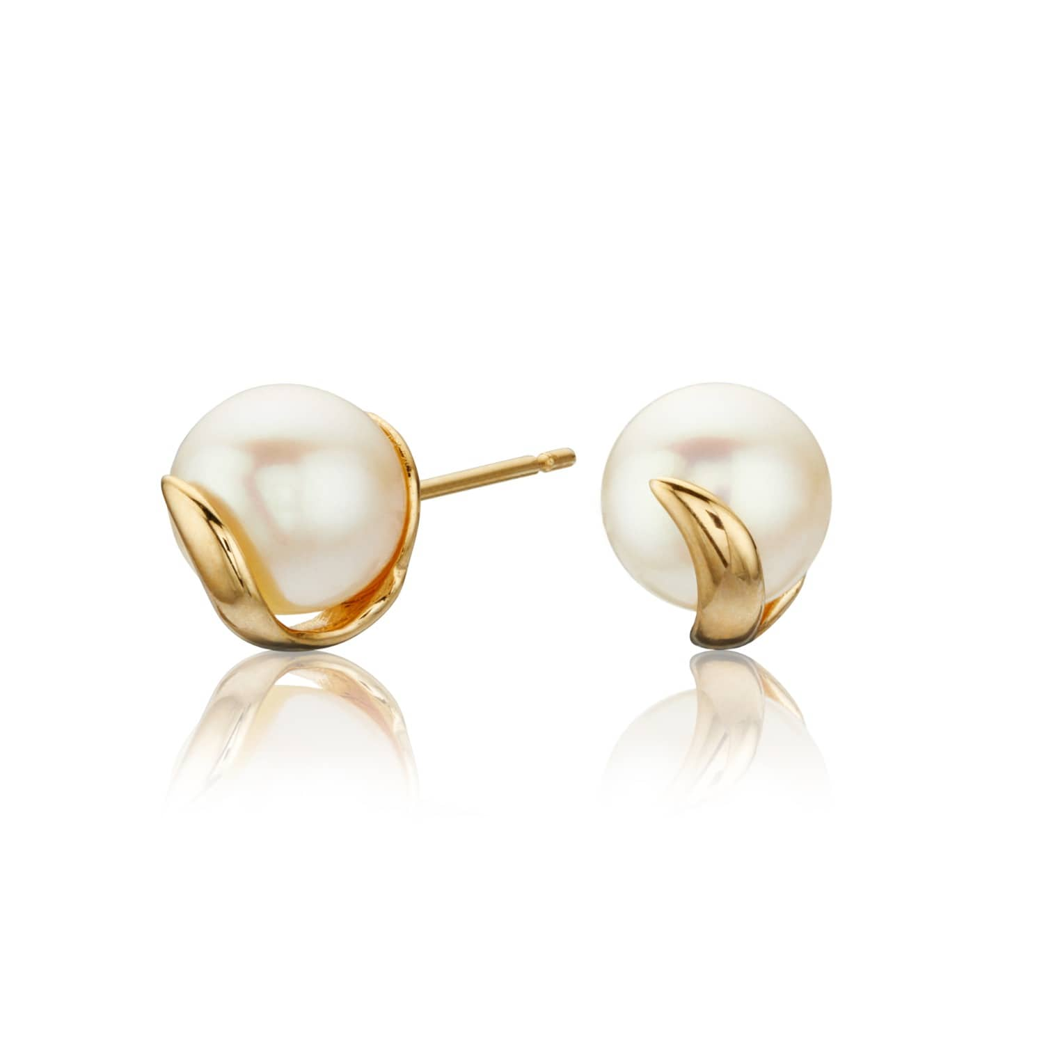 4ddabe775 Solid Gold Pearl Stud Earrings | Lily & Roo | Wolf & Badger