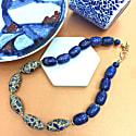 Lapis Lazuli With Rhinestones Bordered Lapis Choker image
