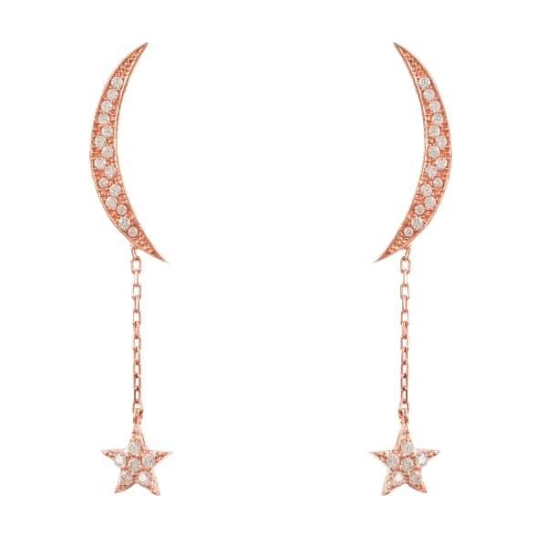 LATELITA LONDON Moon And Star Earring Rosegold White Cz