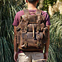 Paratrooper Style Genuine Leather Backpack In Worn Brown image