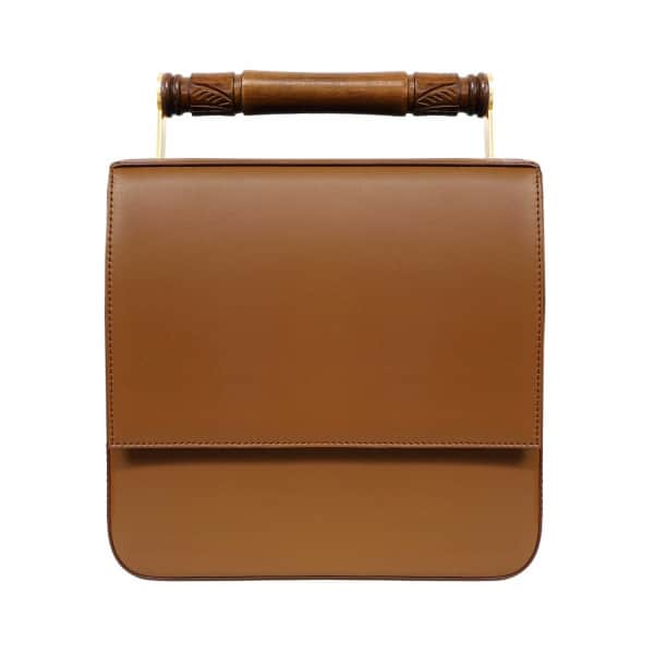 AEVHA LONDON Helve Crossbody In Tan With Wooden Handle