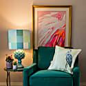 Lemon Heron Silk Cushion image