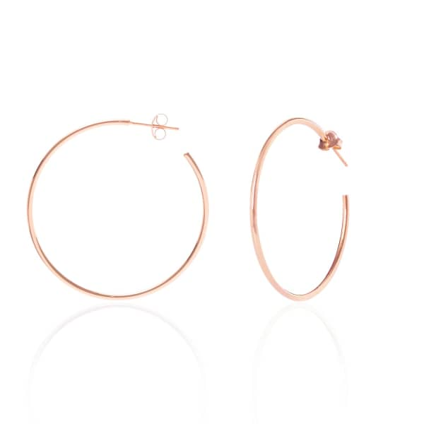 SHARON MILLS LONDON Simple Oversize Hoops Rose Gold