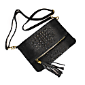 Ophelia Microsuede Leather Clutch - Gravel Black image