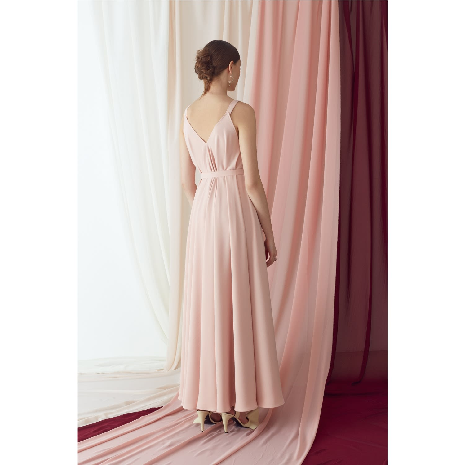 a14a51cb6f Notabilia Pastel Pink Extremely Flared Occasion Wedding Maxi Dress image