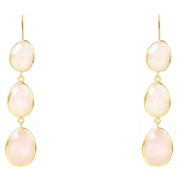 Latelita London Gold Triple Drop Earring Rose Quartz