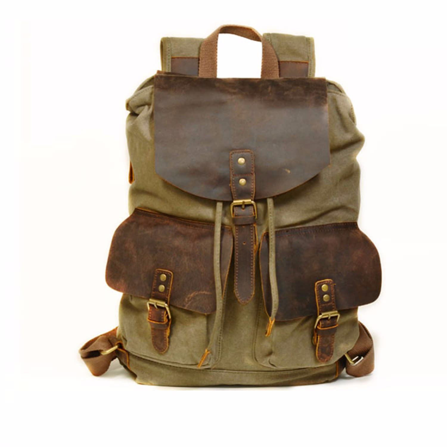 e695bd29eb6e Vintage Style Canvas Leather Backpack in Green image