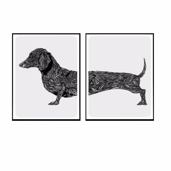 dachshund duo dog art print fifi pascale wolf badger. Black Bedroom Furniture Sets. Home Design Ideas