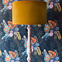 Breeze Mustard Velvet Lampshade With Nature Inspired Inner - 40X25Cm image