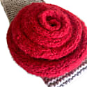 Cashmere Fascinator Snow Polo In Red & Taupe image