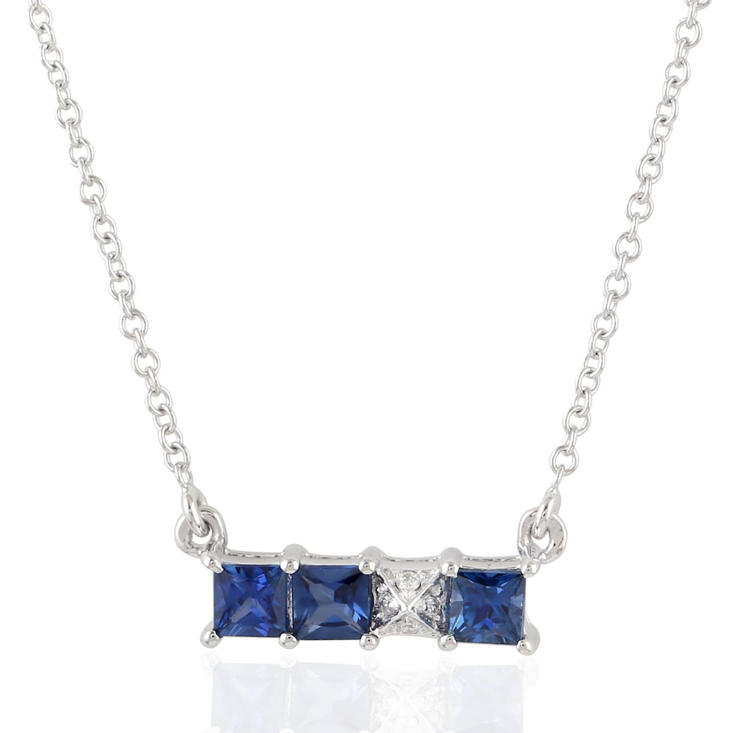cb0493fde584 18K White Gold Blue Sapphire And Pave Diamond Bar Necklace