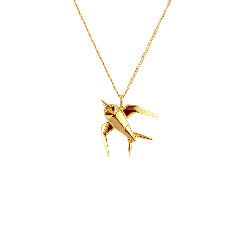 Origami Jewellery Sterling Silver Mini Swallow Origami Necklace UrSoI53LC