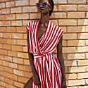 The Point Dress In Whippy Stripe Red image