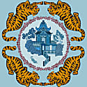 Tiger Chinoiserie Print In Blue image