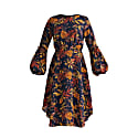 Midnight Floral Dress With Balloon Cuffs In Navy Midnight Floral Print image