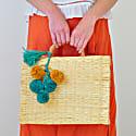 Portuguese Basket Bag Natural with Raffia Pom-Pom image
