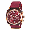 Briston Clubmaster Classic Chronograph Tortoise Shell Acetate, Red Sunray Dial And Rose Gold, Burgundy Nato Strap image