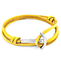 Mustard Yellow Clipper Anchor Silver & Flat Leather Bracelet image