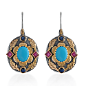 Ishana Turquoise Ruby Sapphire Earrings image