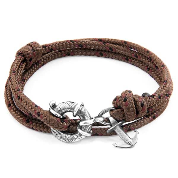 Anchor & Crew Brown Clyde Anchor Silver & Rope Bracelet
