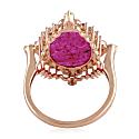 18K Rose Gold Cocktail Ring Genuine Diamond Ruby Gemstone Jewelry image