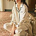 Coco Style Elegant Pajama 2 Pieces Set - White image