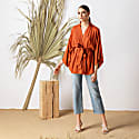 Rust Viscose Kimono Wrap Top Massami image
