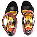 Metallic Finish Leather Sandals Red image
