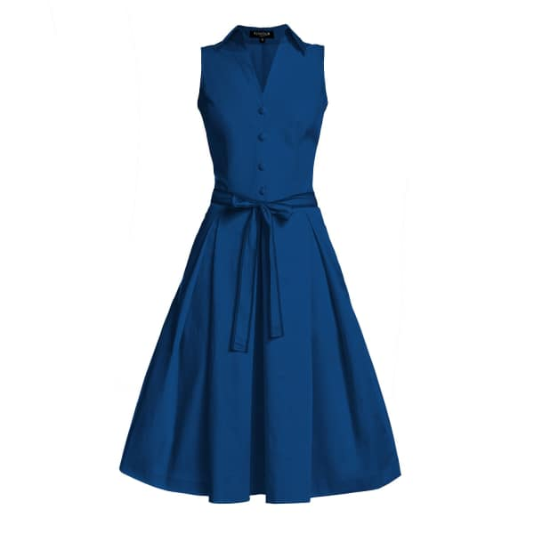 RUMOUR LONDON Venice Navy Satin Cotton Belted Flared Dress