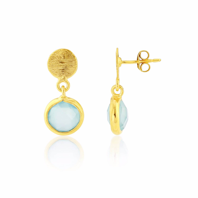 c560ae19a Salina Gold Vermeil & Aqua Onyx Gemstone Drop Earrings   Auree ...