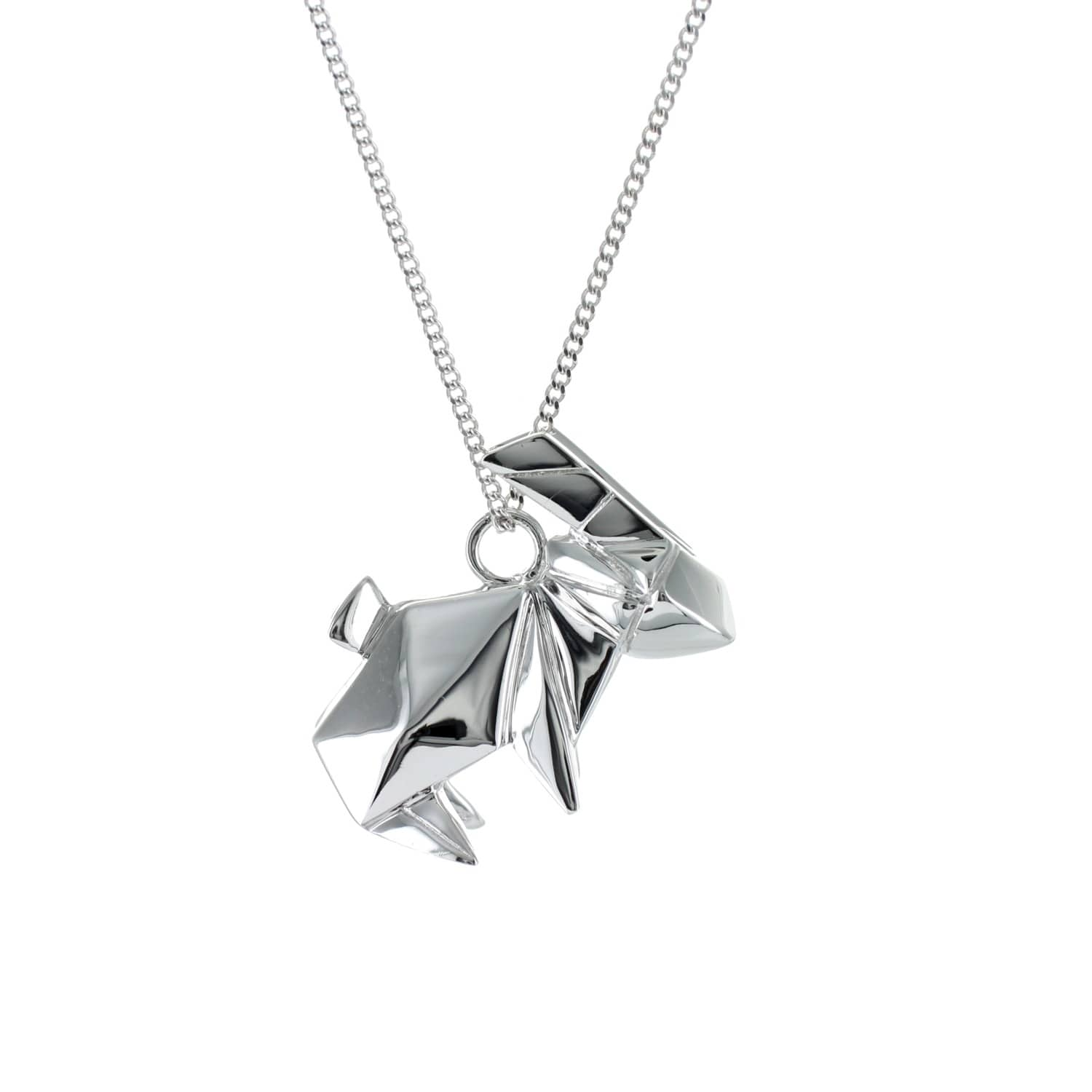 Origami Jewellery Sterling Silver Gold Plated Rabbit Necklace NQDFn9rjK