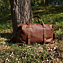 Large Genuine Leather Holdall In Russet Brown image