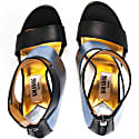 Metallic Finish Leather Sandals Blue image