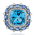 18K White Gold Blue Sapphire Topaz Cocktail Ring Diamond Jewelry image