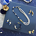 Freshwater Pearls With Lapis Lazuli & Rhinestone Double Strands Necklace image