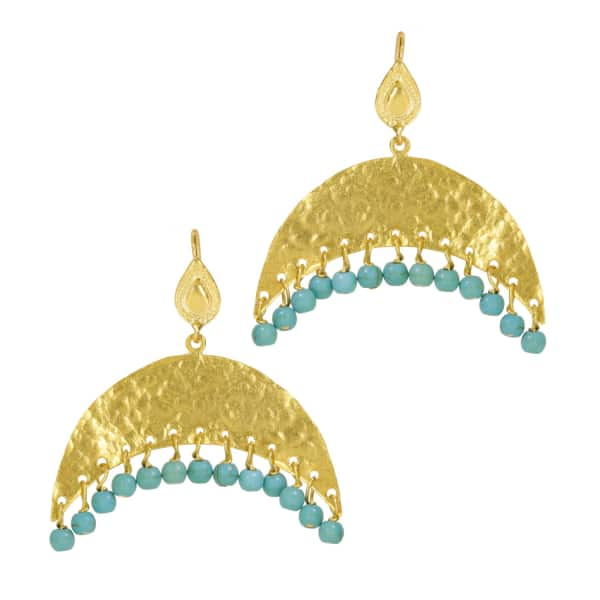 OTTOMAN HANDS Hammered Crescent and Turquoise Beaded Earrings