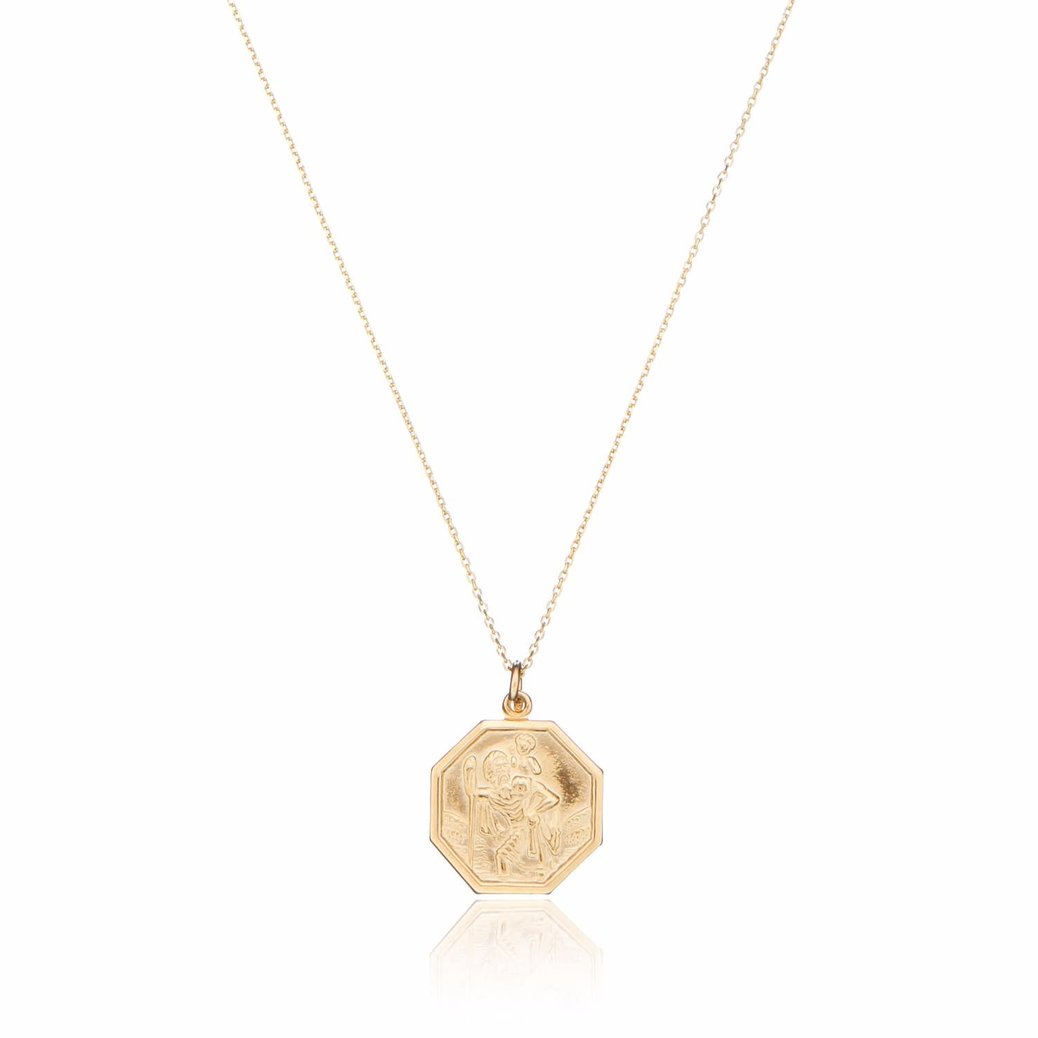 e09860593ec Solid Gold St Christopher Medallion Pendant Necklace | Lily & Roo ...