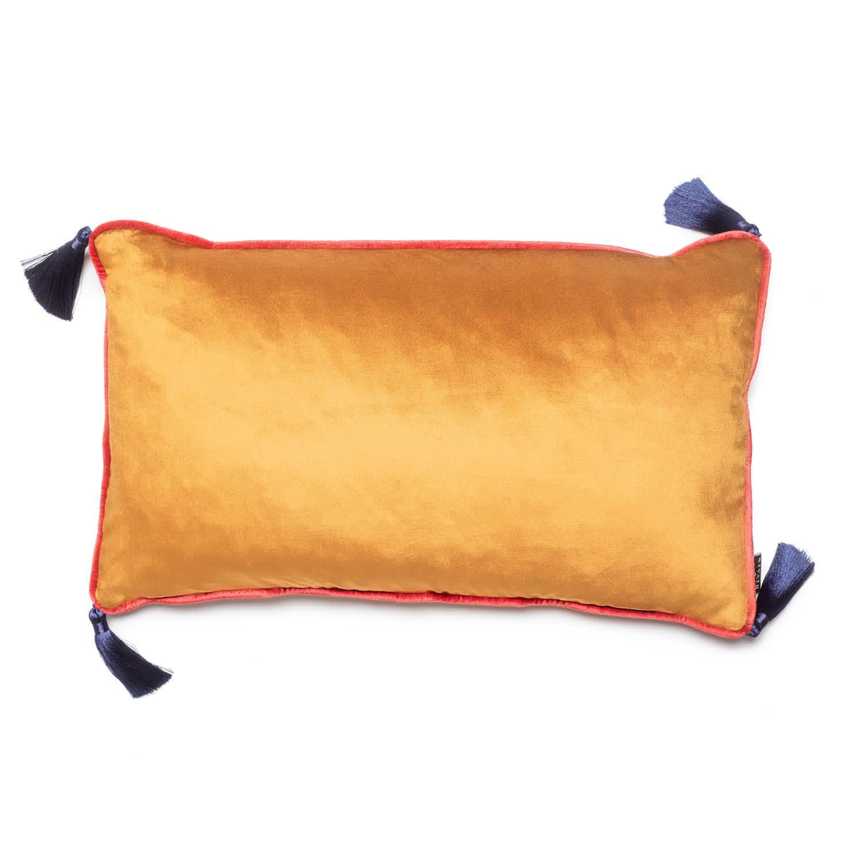 Burnt Orange Velvet Rectangular Cushion With Tassels Bivain Wolf Badger