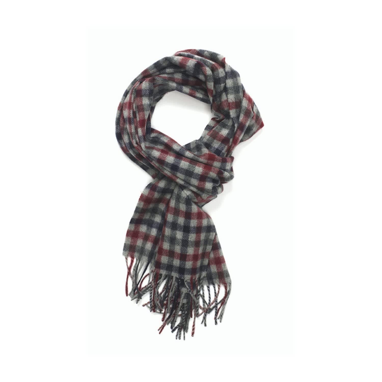 3909889d0e4 Shepherd Check Cashmere Scarf Grey Red & New Blue by Joshua Ellis