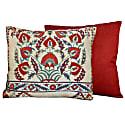 Winter Aconite Flower Design Silk Suzani Cushion image
