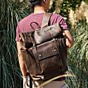 Fold Top Hiker Rucksack In Worn Brown image