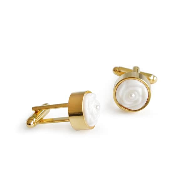 POPORCELAIN Porcelain Rose With Pearl Cufflinks