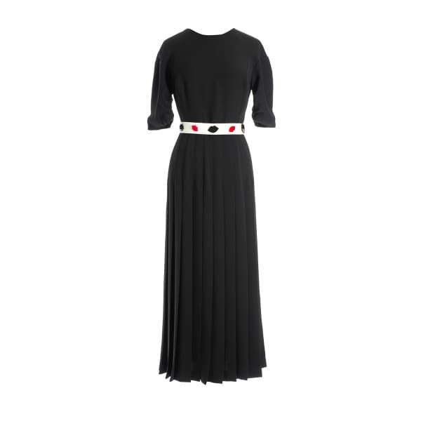 MUSÉE Midi Crepe Pleated Dress