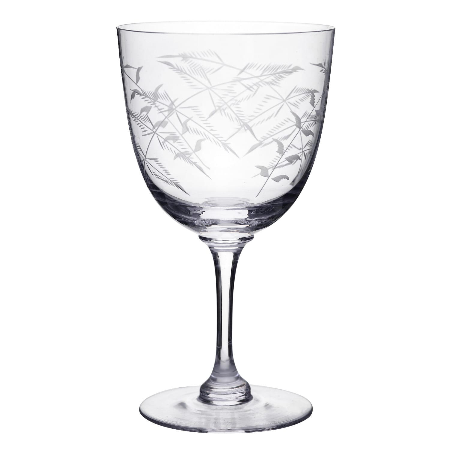 The Vintage List - Six Hand-Engraved Crystal Wine Glasses with Ferns Design