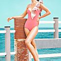 Condor Ballerina Cut Mesh Ruffle Onepiece Pink & Nude image